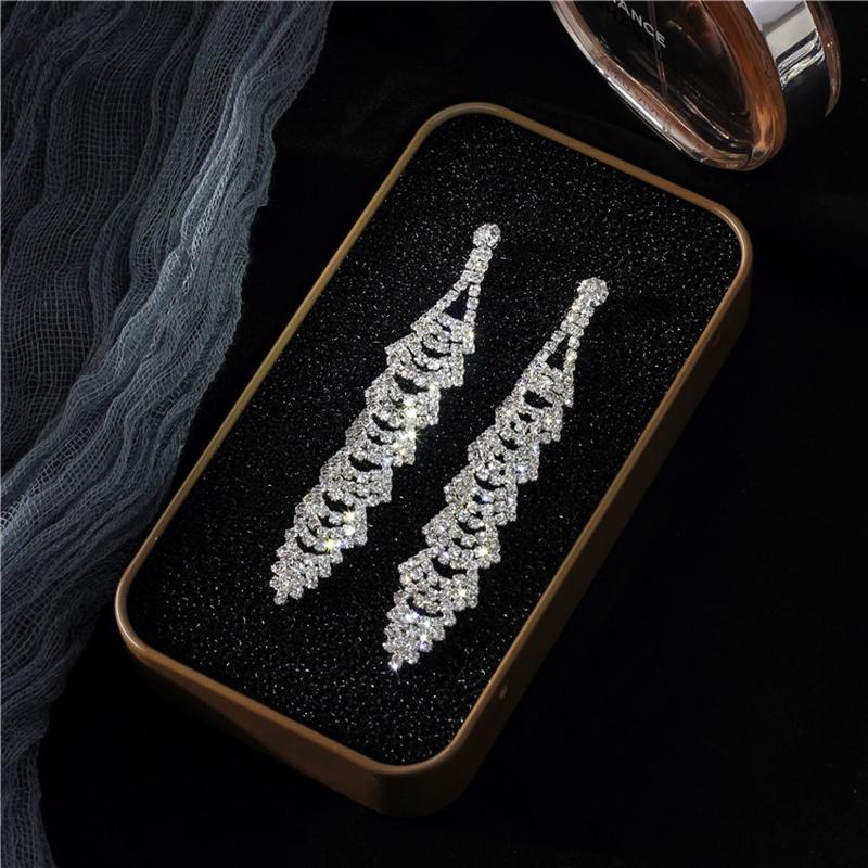 Imitated crystalCZ Simple Tassel earring  Alloy NHIM1470Alloy