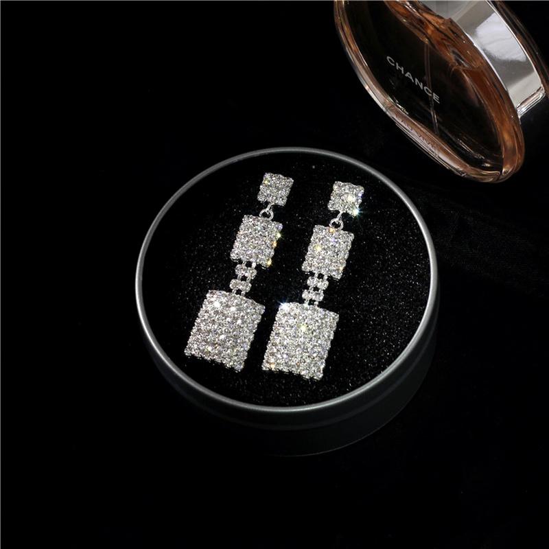 Imitated crystalCZ Simple Geometric earring  K9 NHIM1473K9