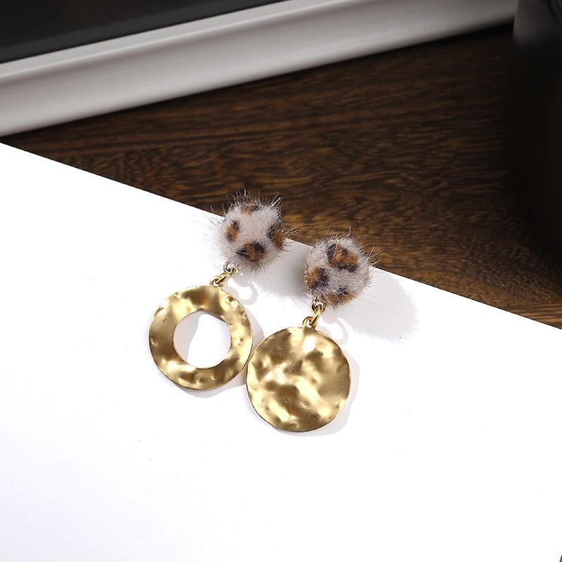 Imitated crystalCZ Fashion Geometric earring  Leopard print NHIM1480Leopardprint