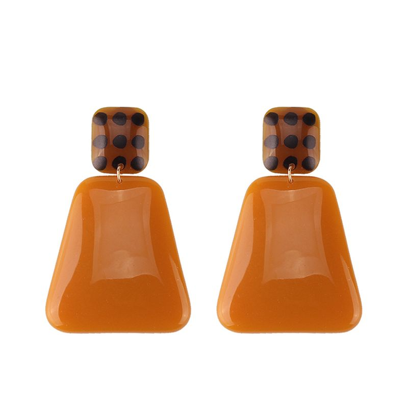 Plastic Fashion Geometric earring  (dark brown) NHJQ10977-dark-brown