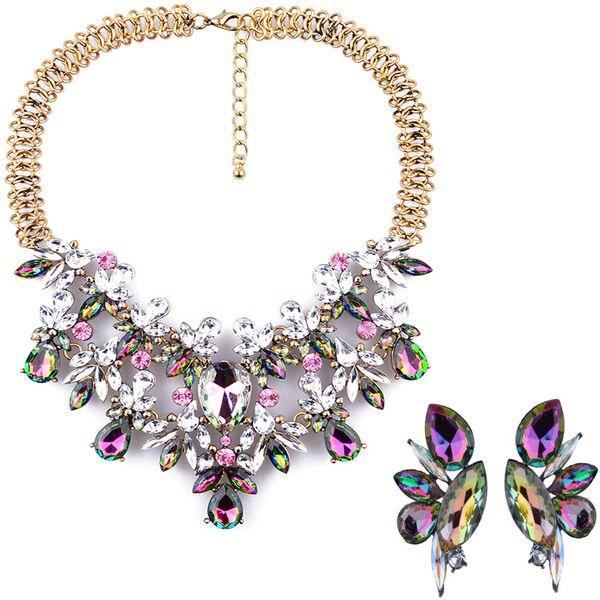 Imitated crystal&CZ Fashion Geometric necklace  (Dark color) NHJQ10979-Dark-color