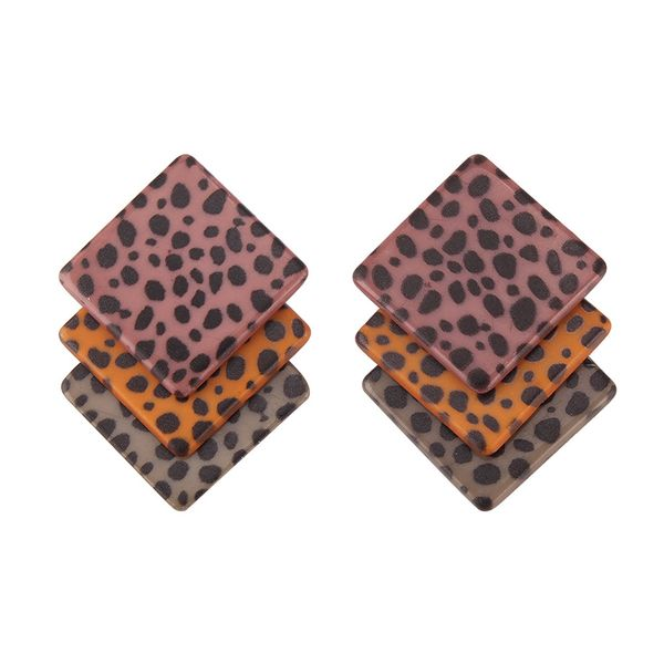 Acrylic Fashion Geometric earring  (Brown leopard) NHJQ10990-Brown-leopard
