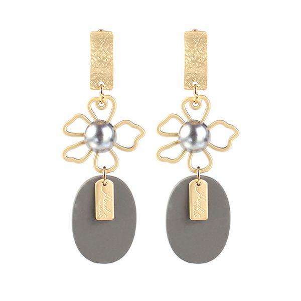 Alloy Fashion Flowers earring  (Gray KC alloy) NHKQ2137-Gray-KC-alloy