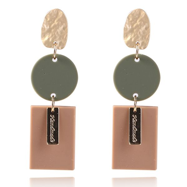 Alloy Fashion Geometric earring  (Coffee KC Alloy) NHKQ2140-Coffee-KC-Alloy