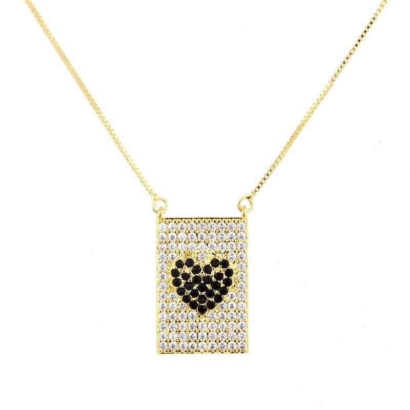Copper Fashion Geometric necklace  (Alloy-plated black zircon) NHBP0143-Alloy-plated-black-zircon