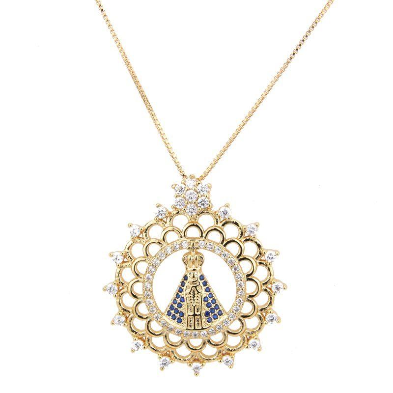 Copper Fashion Cross necklace  Alloyplated white zirconium NHBP0149Alloyplatedwhitezircon