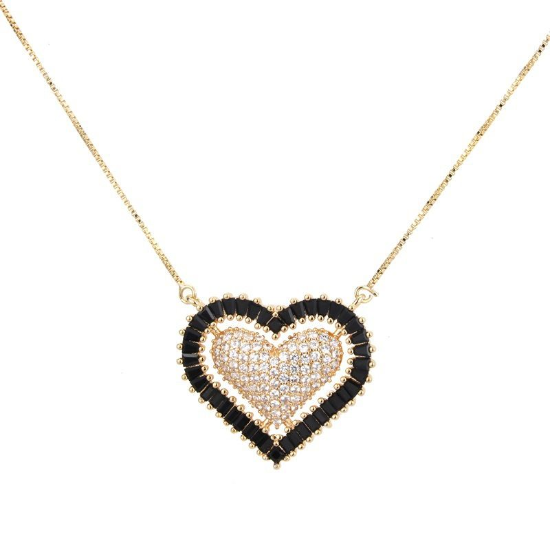 Copper Fashion Sweetheart necklace  (White zircon) NHBP0188-White-zircon