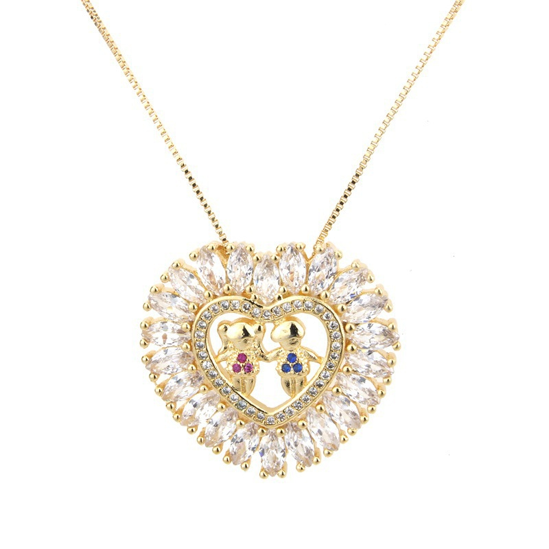 Copper Fashion Geometric necklace  (Gilded boy girl) NHBP0211-Gilded-boy-girl