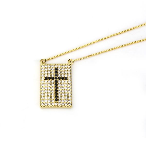 Copper Fashion Geometric necklace  (Alloy-plated black zircon) NHBP0232-Alloy-plated-black-zircon