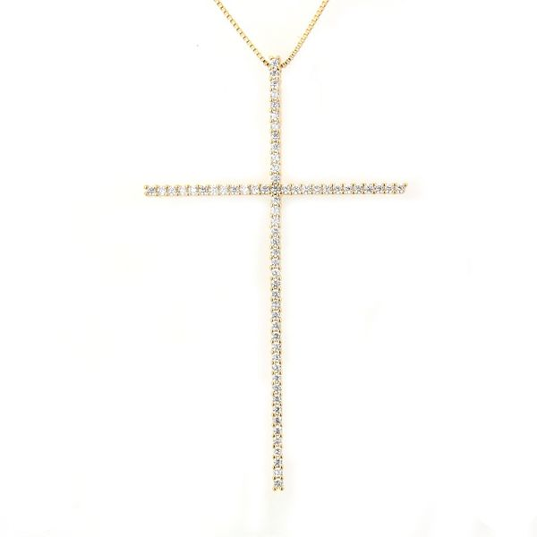 Copper Fashion Cross necklace  (Alloy-plated white zircon) NHBP0242-Alloy-plated-white-zircon