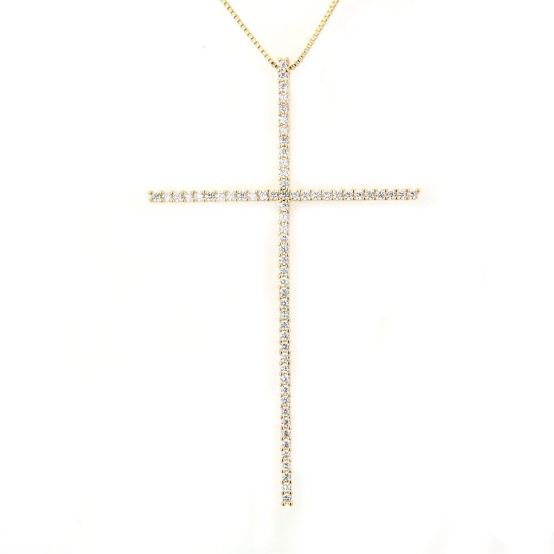 Copper Fashion Cross necklace  Alloyplated white zircon NHBP0242Alloyplatedwhitezircon
