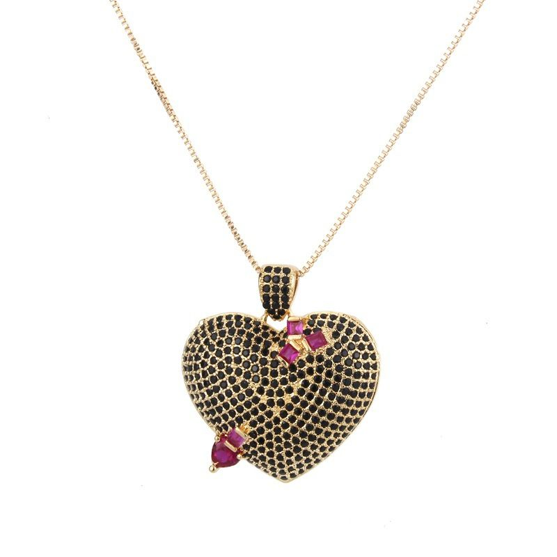 Copper Fashion Sweetheart necklace  (Alloy-plated black zircon) NHBP0246-Alloy-plated-black-zircon