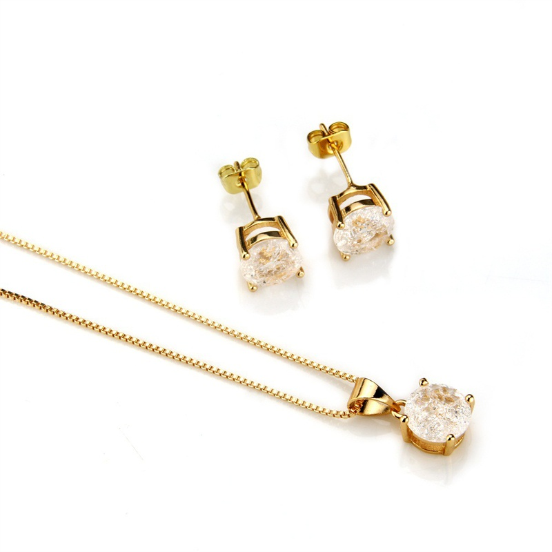 Copper Simple  necklace  (Alloy-plated white zircon) NHBP0265-Alloy-plated-white-zircon
