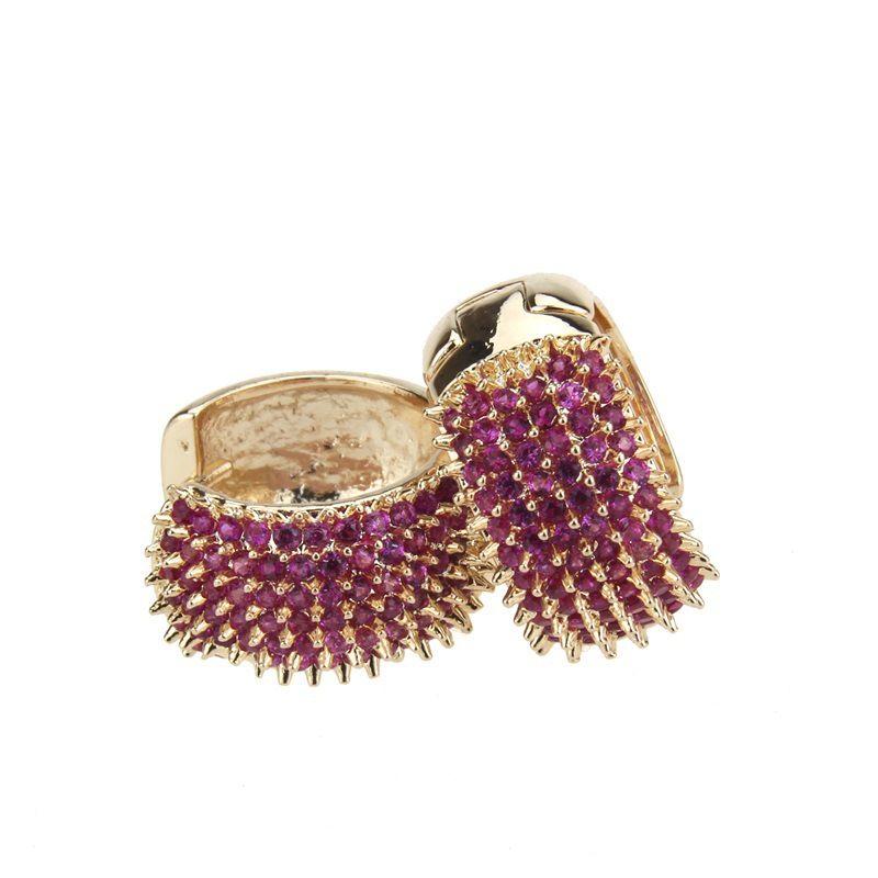 Copper Simple Geometric earring  (Large alloy-plated red zircon) NHBP0276-Large-alloy-plated-red-zircon