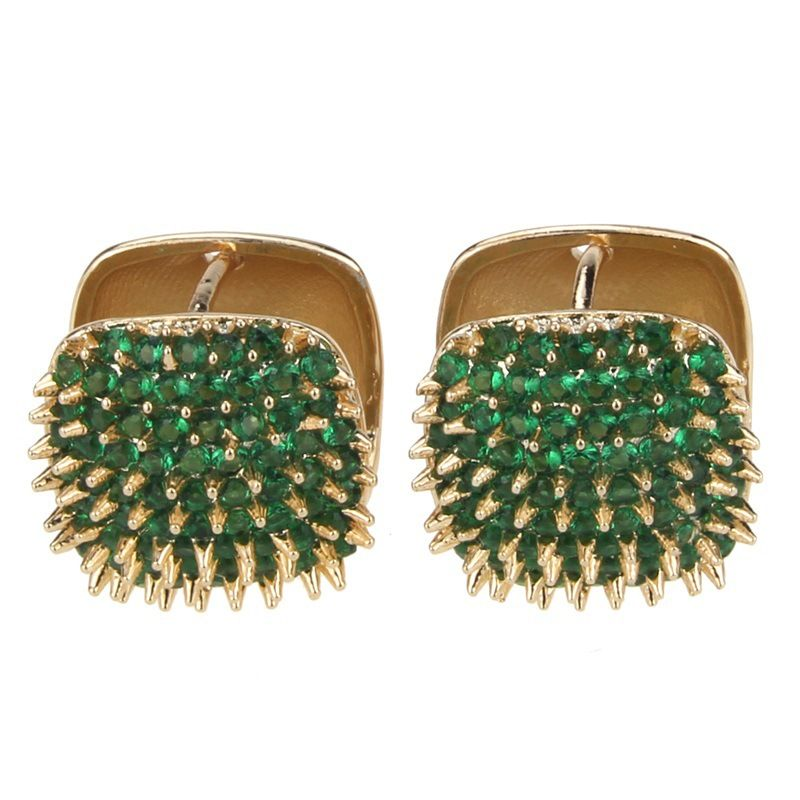 Copper Simple Geometric earring  (Alloy-plated green zircon) NHBP0278-Alloy-plated-green-zircon