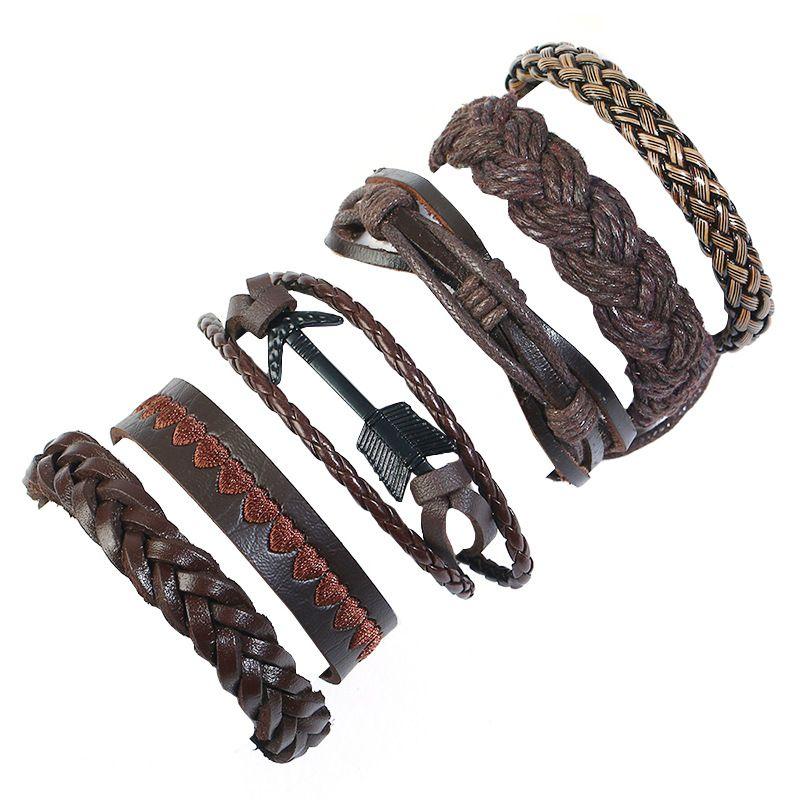 Leather Fashion Geometric bracelet  (Six-piece set) NHPK2177-Six-piece-set