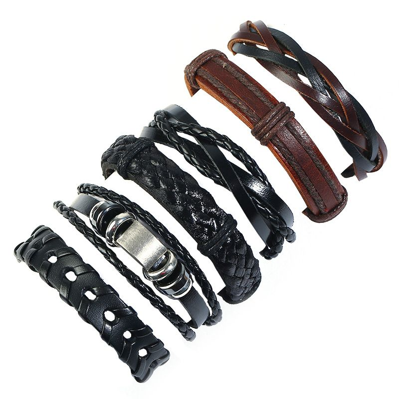 Leather Fashion Geometric bracelet  (Six-piece set) NHPK2180-Six-piece-set