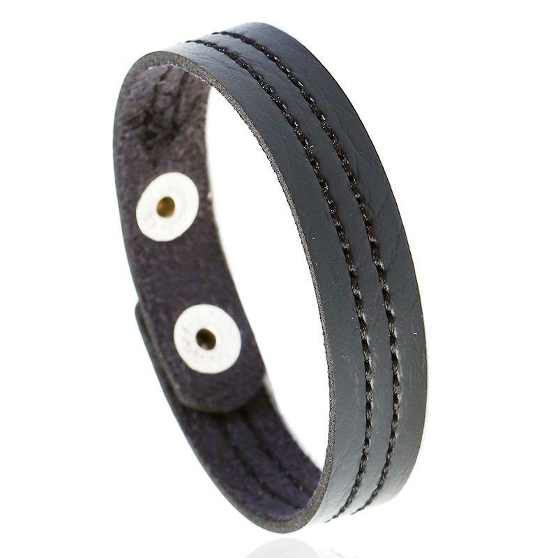 Leather Fashion Geometric bracelet  black NHPK2181black