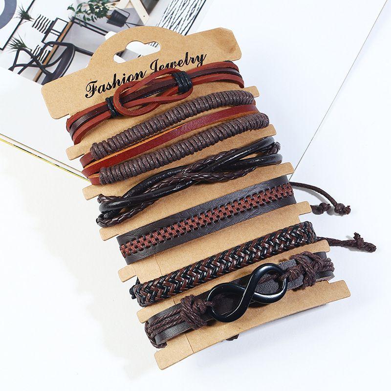 Leather Fashion Geometric bracelet  (Six-piece set) NHPK2182-Six-piece-set