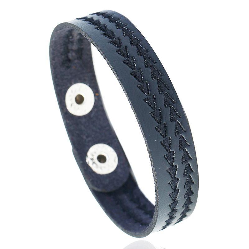 Leather Fashion Geometric bracelet  (black) NHPK2184-black