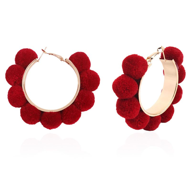 Alloy Fashion Geometric earring  (Wine red) NHNMD4991-Wine-red