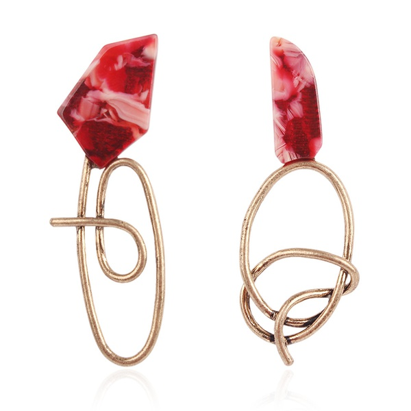 Alloy Fashion Geometric earring  (red) NHNMD4992-red