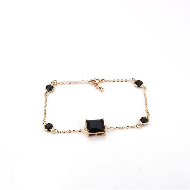Copper Simple Geometric bracelet  Alloyplated black explosion stone NHBP0325Alloyplatedblackexplosionstone