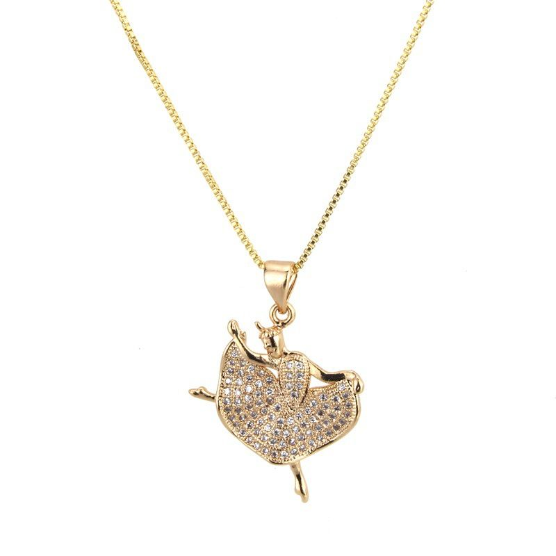 Copper Fashion Geometric necklace  (Alloy-plated white zircon) NHBP0328-Alloy-plated-white-zircon