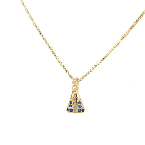 Copper Fashion Cross necklace  (Alloy-plated blue zirconium) NHBP0329-Alloy-plated-blue-zirconium