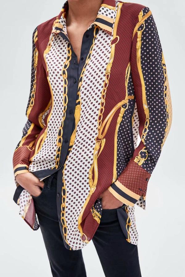 Chiffon Fashion  shirt  (Picture color - M) NHAM7021-Picture-color-M
