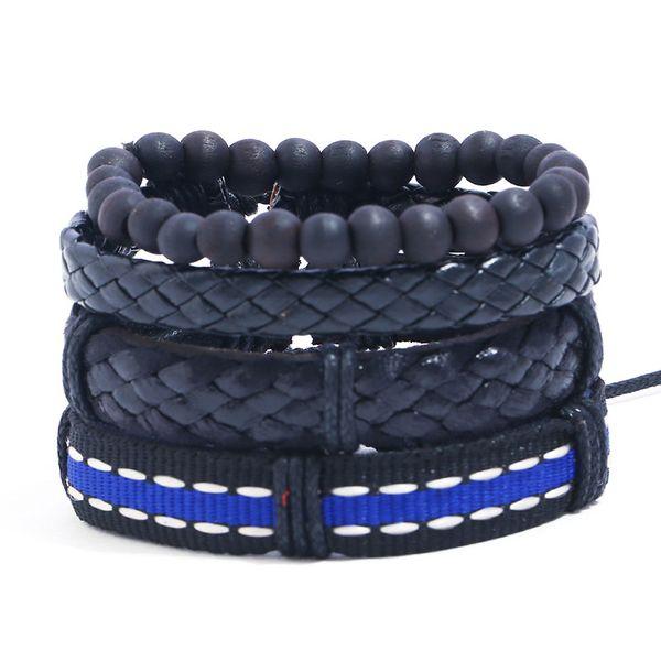 Leather Fashion Geometric bracelet  (Four-piece set) NHPK2145-Four-piece-set