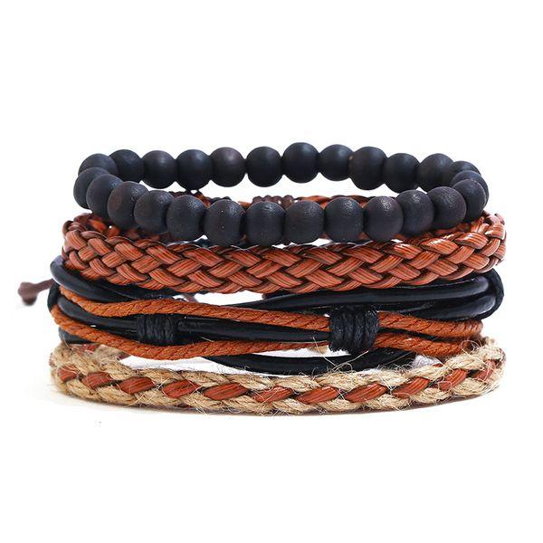Leather Fashion Geometric bracelet  (Four-piece set) NHPK2146-Four-piece-set