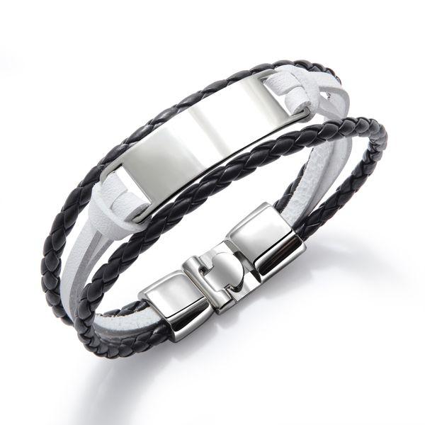 Leather Fashion Geometric bracelet  (1301-black room white) NHOP3074-1301-black-room-white