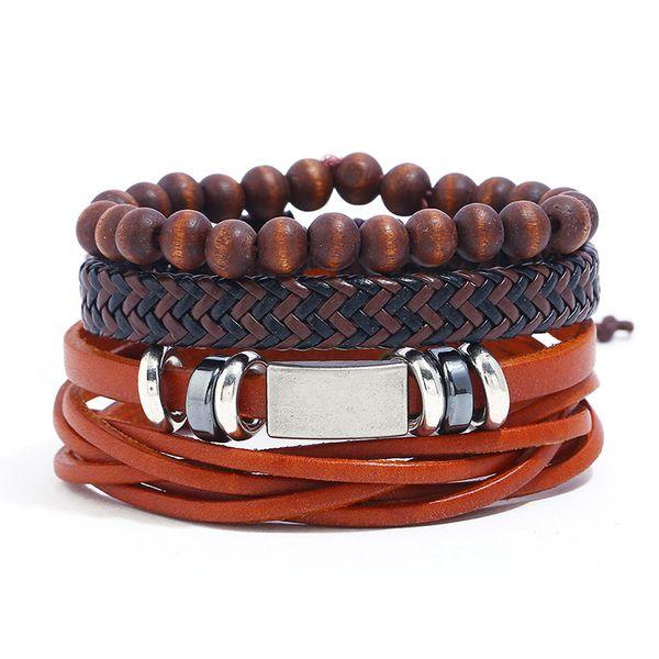 Leather Fashion Geometric bracelet  (Three-piece suit) NHPK2158-Three-piece-suit