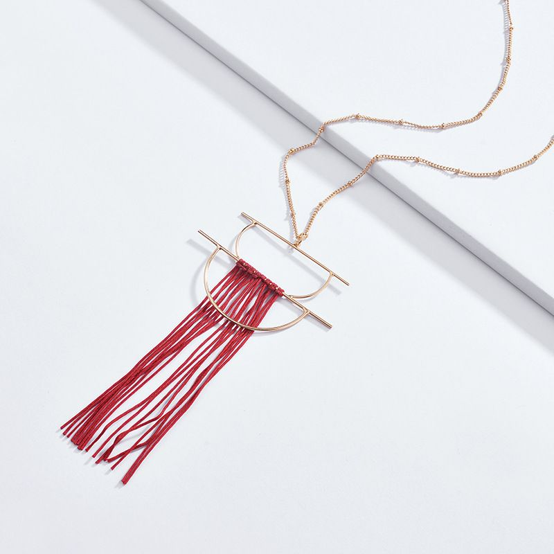 Cloth Fashion Tassel necklace  red NHLU0136red