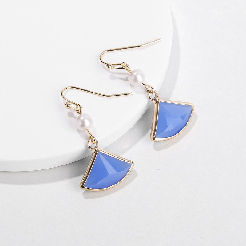 Alloy Fashion Flowers earring  (blue) NHLU0201-blue
