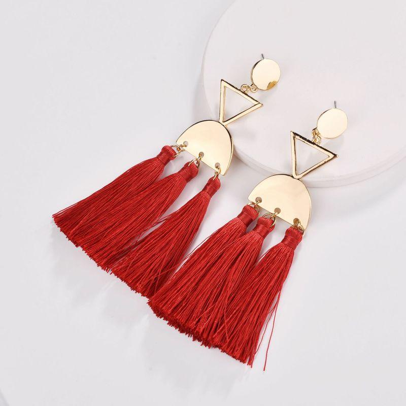 Alloy Fashion Tassel earring  red NHLU0307red