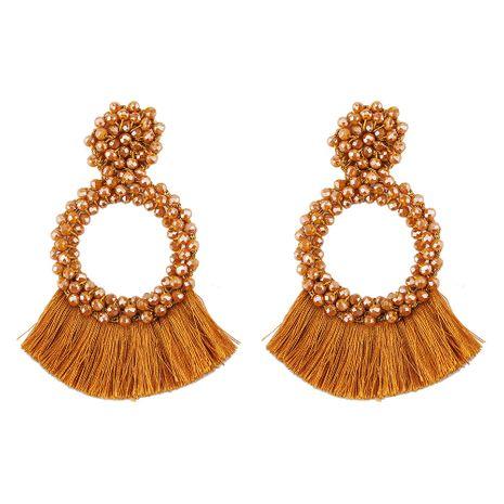 Cloth Fashion Tassel earring  (Brown) NHJQ11050-Brown's discount tags
