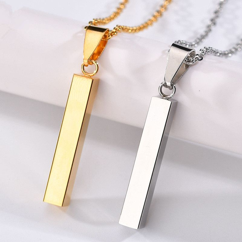 Titanium&Stainless Steel Simple Geometric necklace  (Please contact the customer service letter before taking the product.) NHHF1202-Steel-color