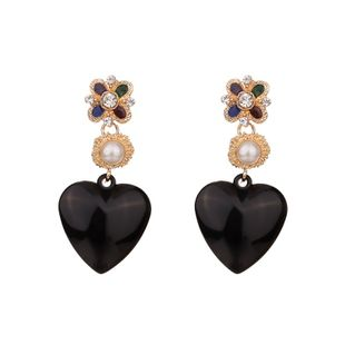 Acrylic Fashion Sweetheart earring  (black) NHKC1325-black's discount tags