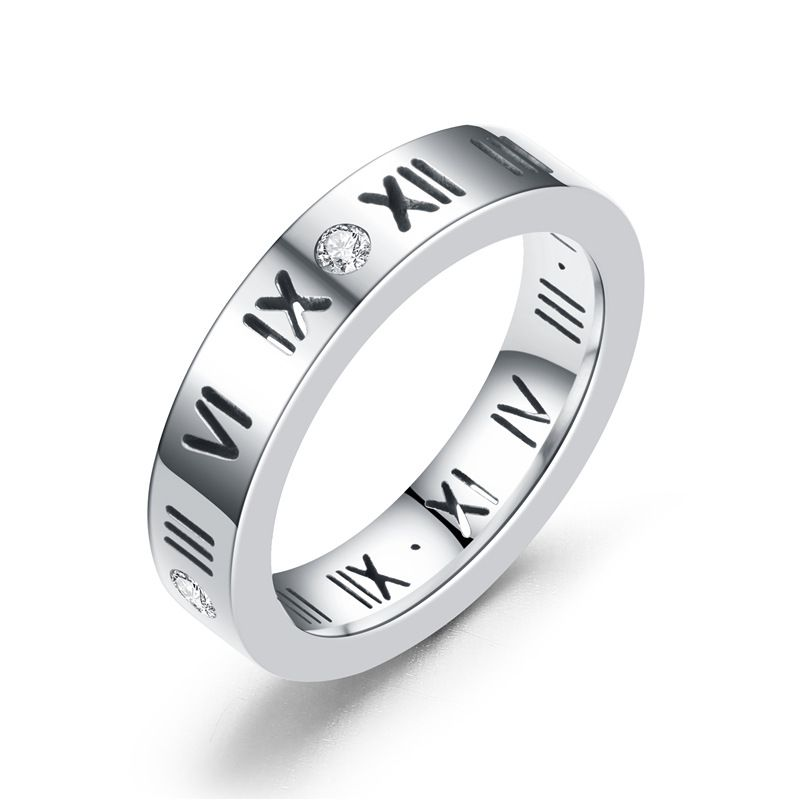 Titanium&Stainless Steel Fashion Sweetheart Ring  (Steel color-6) NHTP0012-Steel-color-6
