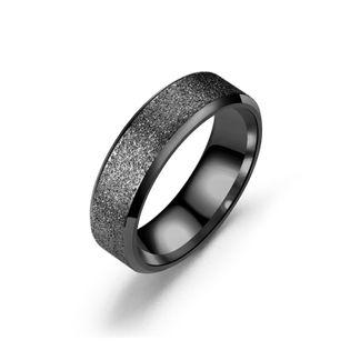 Titanium&Stainless Steel Fashion Geometric Ring  (6MM black-5) NHTP0030-6MM-black-5