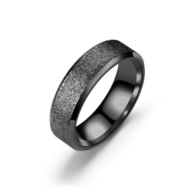 TitaniumStainless Steel Fashion Geometric Ring  6MM black5 NHTP00306MMblack5
