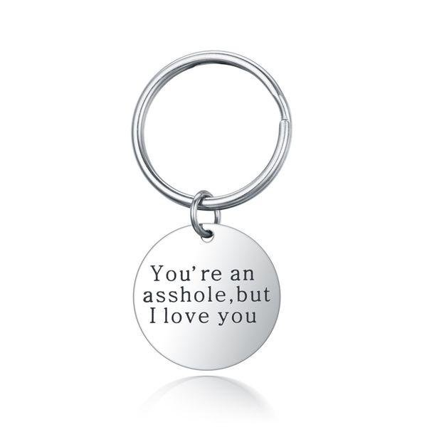 Titanium&Stainless Steel Fashion  key chain  (Iloveyou) NHTP0037-Iloveyou