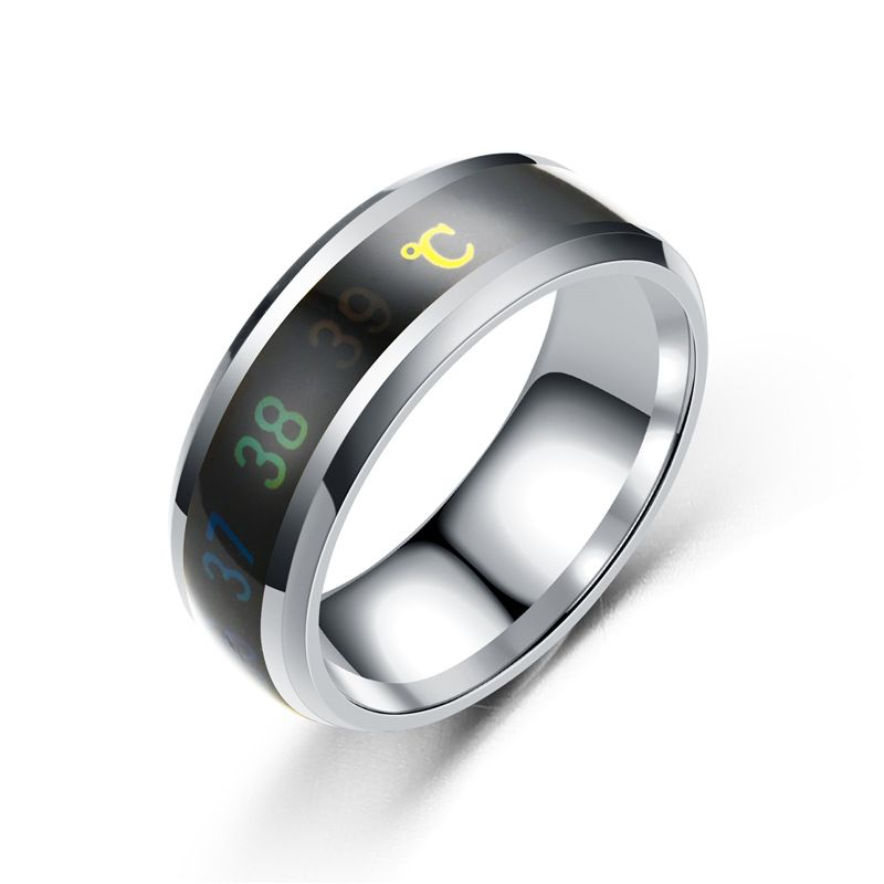 Titanium&Stainless Steel Fashion Geometric Ring  (8MM steel color-6) NHTP0053-8MM-steel-color-6