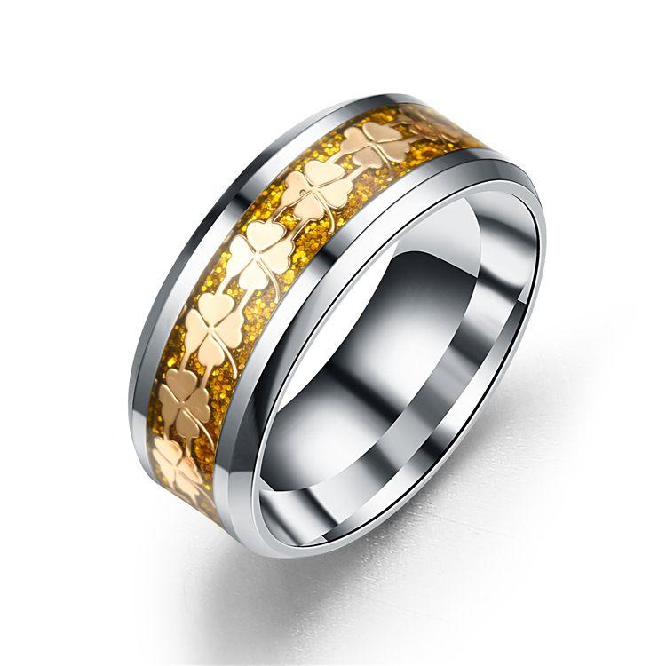 Titanium&Stainless Steel Fashion Geometric Ring  (8MM alloy bottom alloy-6) NHTP0057-8MM-alloy-bottom-alloy-6