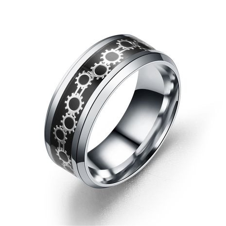 Titanium&Stainless Steel Fashion Geometric Ring  (Black bottom alloy plate - 6) NHTP0059-Black-bottom-alloy-plate-6's discount tags