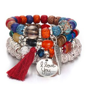 Natural Stone Fashion Tassel bracelet  (GFD08-05 color) NHPJ0024-GFD08-05-color's discount tags