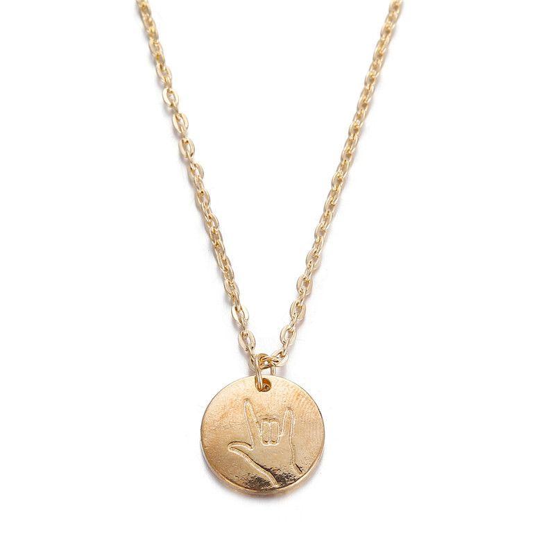 Alloy Fashion Geometric necklace  (Love gesture GFF03-04) NHPJ0032-Love-gesture-GFF03-04