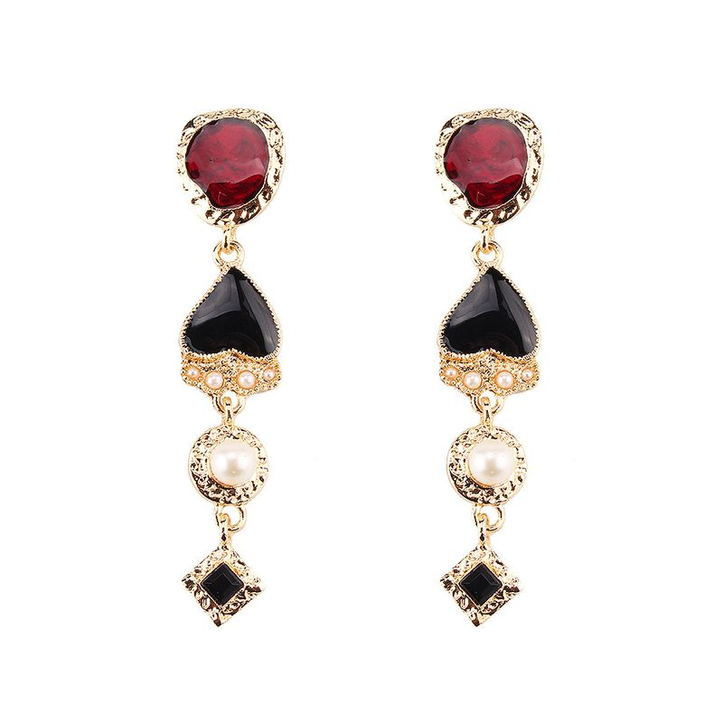 Imitated crystal&CZ Fashion Geometric earring  (red) NHJQ11058-red